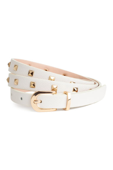 Narrow belt with studs - White/Gold-coloured -  | H&M