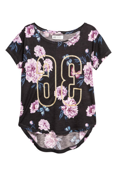 Printed jersey top - Dark grey - Kids | H&M CN