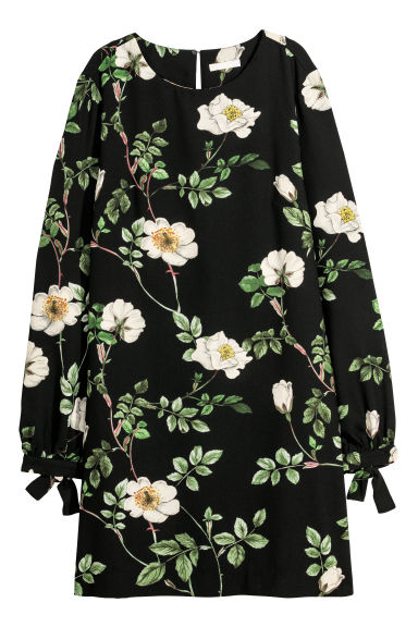 Short dress - Black/Floral - Ladies | H&M GB