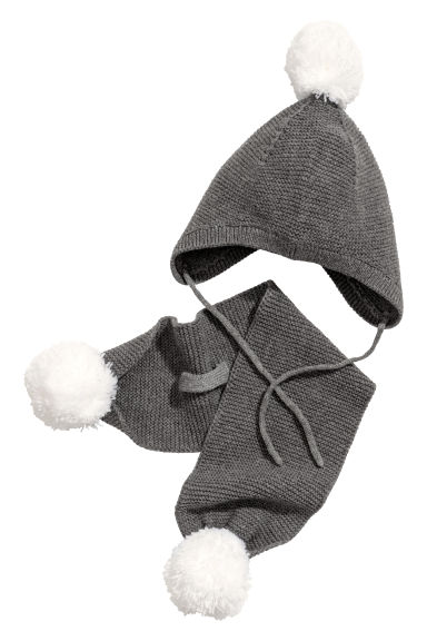 Hat and scarf - Grey marl - Kids | H&M
