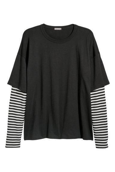 Double-sleeved T-shirt - Black/Striped - Men | H&M GB