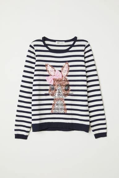Knitted jumper with a motif - Dark blue/Rabbit -  | H&M CN