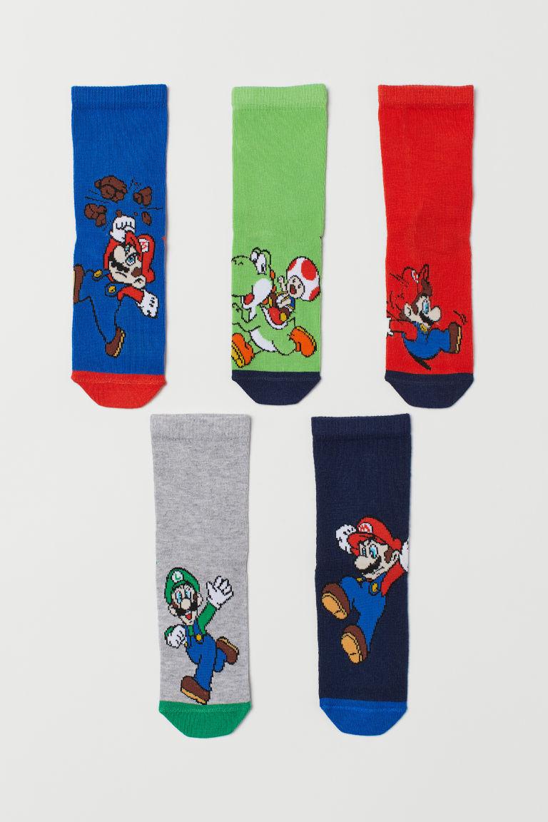 5-pack socks - Red/Super Mario - Kids   H&M GB