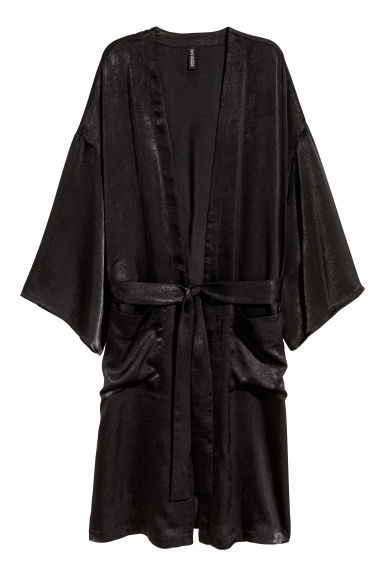 Embroidered satin kimono - Black/Flowers -  | H&M CN