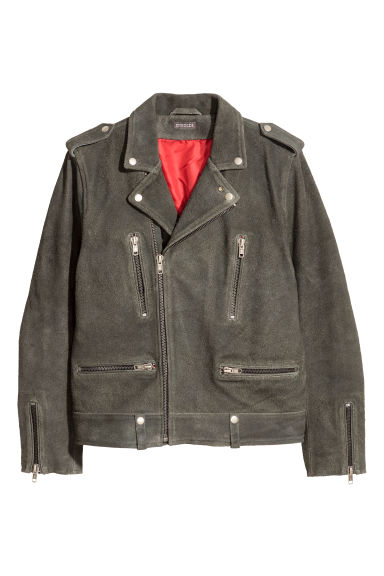 Suede biker jacket - Dark grey -  | H&M