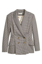 Double-breasted Jacket - Beige/houndstooth - Ladies | H&M CA 2