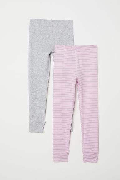2-pack longjohns - Light pink/Striped - Kids | H&M GB