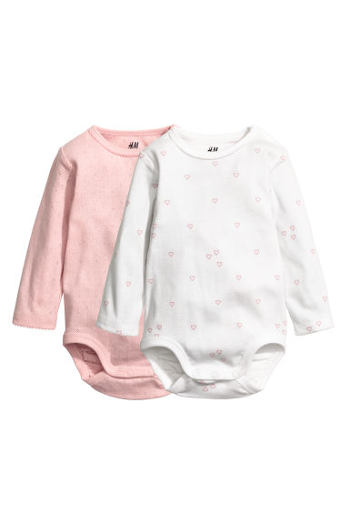 2-pack long-sleeved bodysuits - White/Hearts - Kids | H&M CN