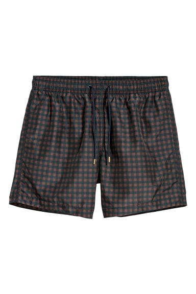 Short de bain - Noir/marron/carreaux -  | H&M FR