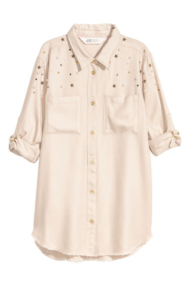 Shirt with studs - Light beige - Kids | H&M