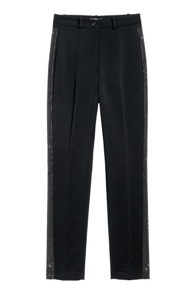 Tailored trousers - Black/Sparkly stones -  | H&M GB