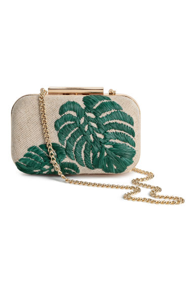 Clutch rigida in juta - Naturale/foglie - DONNA | H&M IT
