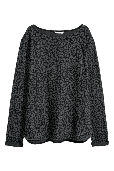 Boat-necked jersey top - Grey/Leopard print -  | H&M