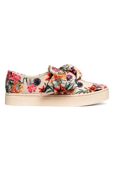 Slip-on trainers - Light beige/Floral - Ladies | H&M