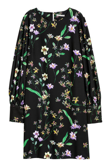 Dress with puff sleeves - Black/Floral - Ladies | H&M GB