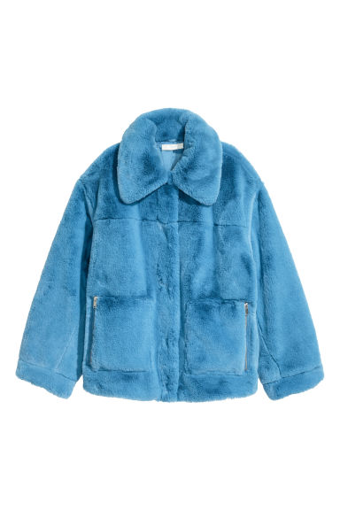 Faux fur jacket - Sky blue - Ladies | H&M