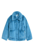 Faux fur jacket - Sky blue - Ladies | H&M GB