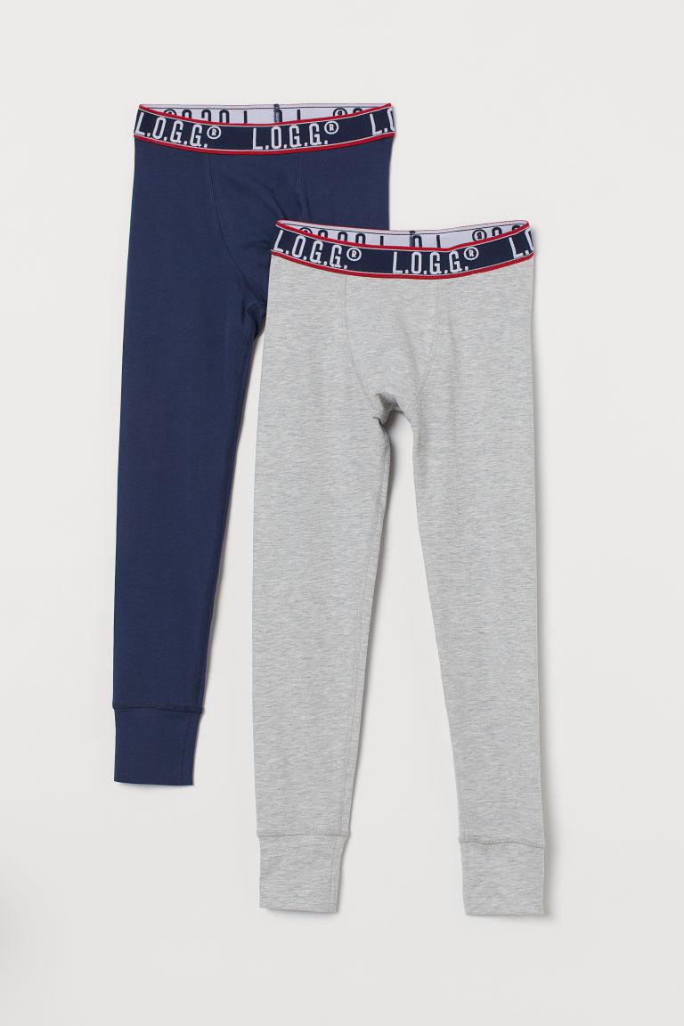 2-pack longjohns - Light grey marl/Dark blue - Kids | H&M GB