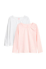 2-pack jersey tops - White/Pink marl - Kids | H&M CN 2