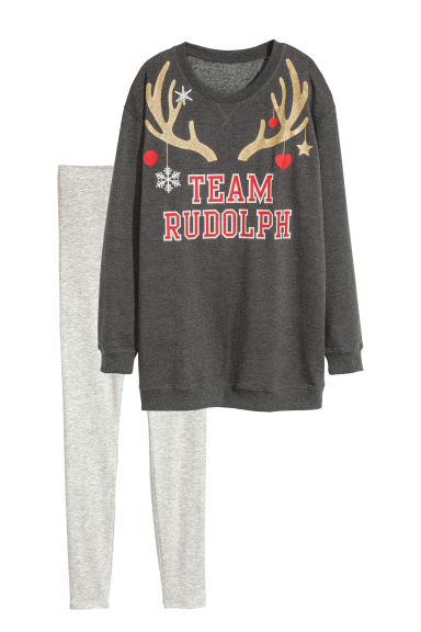 Pyjama top and leggings - Dark grey/Rudolf - Ladies | H&M IE