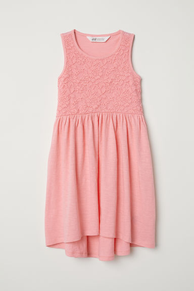 Jersey dress with lace - Coral pink -  | H&M