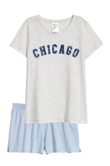Pyjama top and shorts - Light grey/Chicago - Ladies | H&M CN