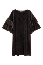 Glittery velour dress - Black/Glittery - Ladies | H&M IE 2