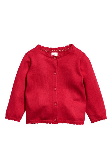 Fine-knit cardigan - Red - Kids | H&M CN 1