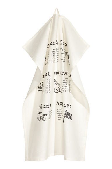 Printed tea towel - Natural white - Home All | H&M IE