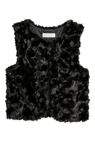 Faux fur gilet - Black -  | H&M CN