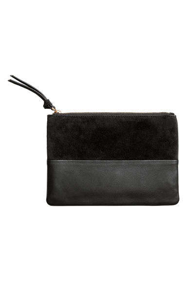 Leather and suede pouch - Black - Ladies | H&M