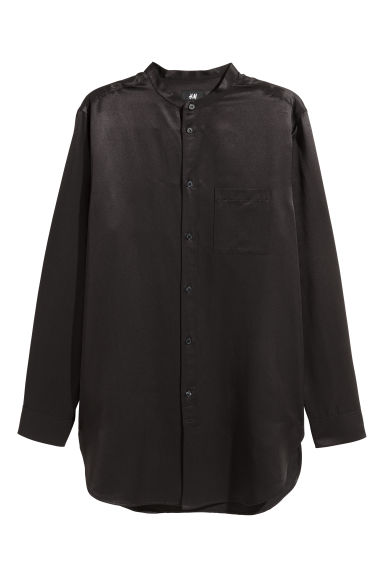 Long lyocell-blend shirt - Black -  | H&M GB