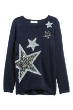 Knitted jumper - Dark blue/Stars - Kids | H&M CN 2