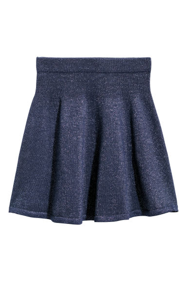 Fine-knit skirt - Dark blue/Glitter -  | H&M