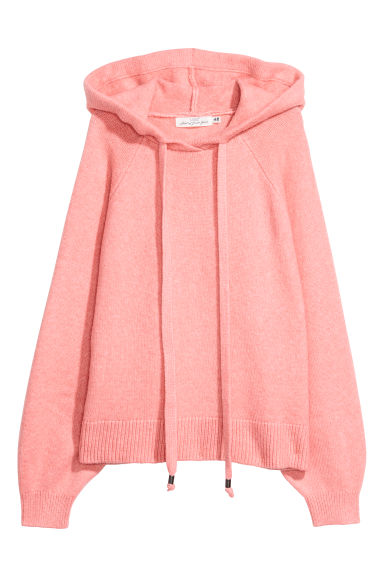 Knitted hooded jumper - Light pink marl - Ladies | H&M IE