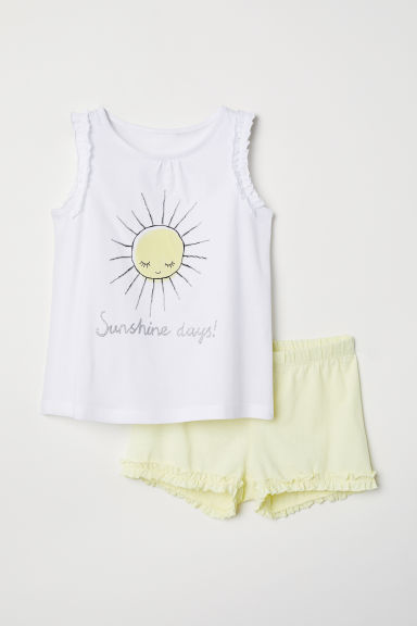 Jersey pyjamas - White/Sunshine - Kids | H&M CN