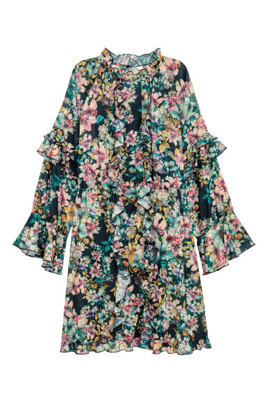 Wide frill-trimmed dress - Black/Green floral - Ladies | H&M