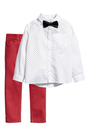 Shirt and twill trousers - Red/White -  | H&M