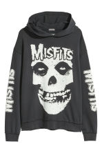 Printed hooded top - Black/Misfits - Men | H&M 1
