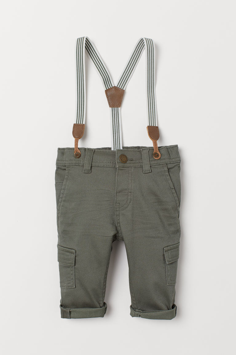 Twill trousers with braces - Khaki green - Kids | H&M GB