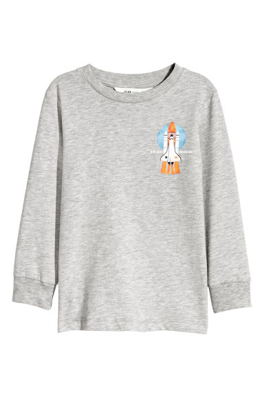 Printed jersey top - Grey marl/Rocket -  | H&M IE
