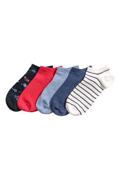 5-pack trainer socks - Dark blue/Floral - Ladies | H&M GB
