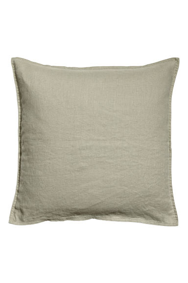 Washed linen cushion cover - Dusky green - Home All | H&M CN