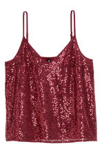 Sequined strappy top - Burgundy - Ladies | H&M CN 2
