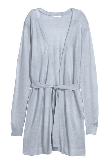 Long cardigan with a tie belt - Light grey - Ladies | H&M