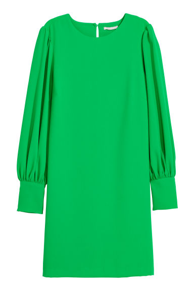 Dress with puff sleeves - Bright green -  | H&M