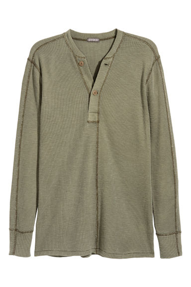 Henley top - Khaki green - Men | H&M