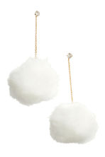 Pompom earrings - Gold-coloured/White - Ladies | H&M IE 1