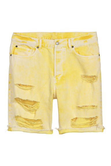 Denim short Trashed - Lichtgeel - HEREN | H&M BE