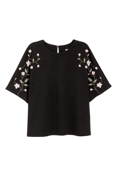 Top with embroidery - Black -  | H&M